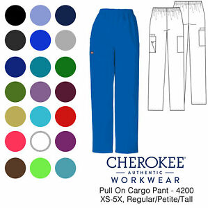 Cherokee Workwear Women's 4200 Pull-On Cargo Scrub Pant-NEW-FREE SHIP