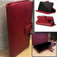 GALAXY A8 2018  Real Leather Executive Red Folio Case Card Wallet Purse IXPORT™