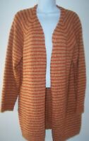 Miss Me Open Front Nubby Knit Cardigan Sweater Orange Stripe Women's M Pockets