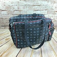 FAO Schwarz World Traveler Logo Black Leather Shoulder Bag Very Rare!!!!!!!!!!!