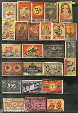 India 1950's 25 Different Match Box Labels Elephant Bird Lion Flower Ship Animal