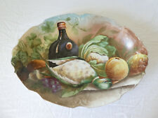 Plat Ovale en Porcelaine de LIMOGES Nature morte peint a la main Signé