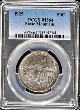 1925 50c STONE MOUNTAIN SILVER COMMEMORATIVE HALF DOLLAR PCGS MS64 564