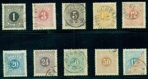 SWEDEN #J12/22 Complete Postage Due set (except J9), all used, Scott $98.50