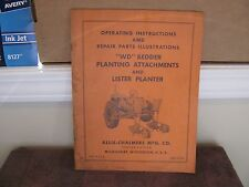 Allis-Chalmers Operator Manual WD Bedder Planting Attachments & Lister Planter