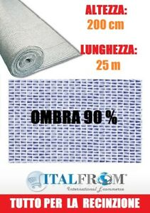Rete Ombreggiante 90% Telo Ombra 25x2h Frangivento Frangivista Bianco Italfrom