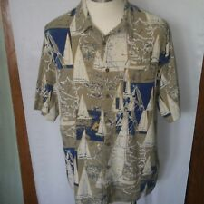 Dickie Walker Marine Sailboats Nautical Hawaiian Shirt.  Size X-Large