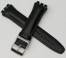 Banda De Cuero Correa De Reloj Swatch Irony 19mm Negro Plata Hebilla Chrono Calidad