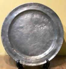 """Antique Small Pewter Charger,  12"""" Dia., Worn Marks, c. 1800"""