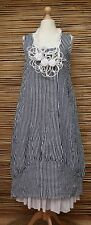 LAGENLOOK LINEN STRIPED BALLOON 2 POCKETS LONG DRESS**NAVY/WHITE**BUST UP TO 46""