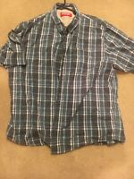 Wrangler Mens XL Short Sleeve Multicolor Plaid Check Western Shirt-Perfect!!