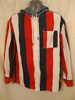 Tommy Hilfiger Men's Size M Red White Blue Stripe Long Sleeve Button Up Hoodie