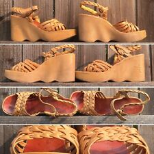 Vintage Hi There Famolare High Heel Wedge Sandals 5 M 70s 1970s Hippie Disco