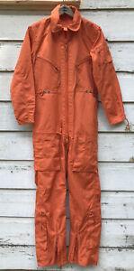 Vintage Orange Military Flight Suit Air Force Style Flight Coveralls Size 34
