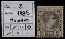 Monaco - 1885 - Effige di Carlo III - cent.2 - Unificato n.2 - nuovo - MH