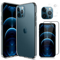 For iPhone 12 Pro Max/Mini/11 Clear Case Slim Cover,Camera Lens Screen Protector