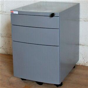 10no. Mobile Metal Under-Desk Pedestal Office Silver Grey Filing Cabinet Storage