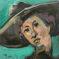 JOSE TRUJILLO Oil Painting Expressionist Abstract Portrait Person Black Hat COA