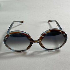 Vintage 1960s Mod Oversized Sunglasses Italy Round Lens Brown Blue Tortoise