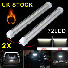 2x 72 LED 12v Car Interior White Strip Lights Bar Lamp Van Caravan on off Switch