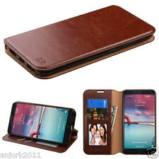 BROWN FOLIO FLIP CASE FAUX LEATHER COVER FOR ZTE ZMAX PRO Z981 BLADE X MAX Z983