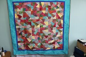 Hand Made Quilted Throw 100 % Cotton Pastel Batiks 66 X 66