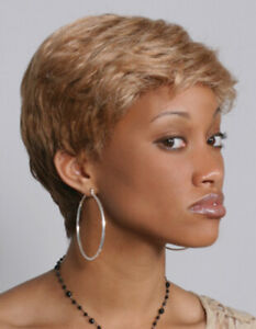 Short Straight Wig w/Soft Layers Tapered Back - Cute Pixie Style Wigs Easy Care