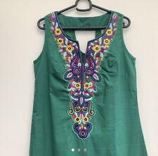 Isabella Designer Ethnic Tribal  Dress, Kaftan Green ,  Summer Dress Size S.