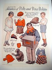 """1933 Paper Dolls by Gertrude A. Kay """"Adventures of Polly & Peter Perkins"""" Uncut*"""
