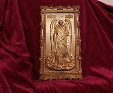 "Icon St Gabriel the Archangel. 3D Art Orthodox Wooden Carved picture. 13"" size."