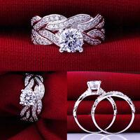 Elegant Gemstone CZ Wedding Engagement Ring Set Band Rings Size 6-9 Jewelry 2pcs
