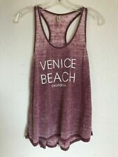 EVER HOTTIE Womens 'Venice Beach' Graphic Racerback Burnout Tank Top Sz M   Pink