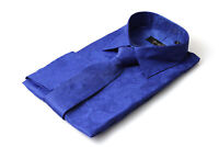 Mens Blue Silk Satin Look Paisley Dress Shirt All Sizes S M L XL XXL 3XL 4XL