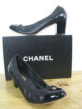 CHANEL Escarpins CC Logo Patent & Leather Elastic Trim Pumps Shoes 40.5