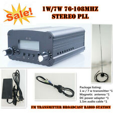 1W/7W 76-108MHZ Stereo PLL FM Transmitter Broadcast Radio Station + Power + Ant