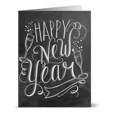24 Chalkboard Note Cards - Bubbly Happy New Year - Kraft Envs