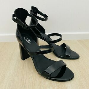 Wittner New With Box Women's Rivera Black Patent Leather Heeled Sandals Size 38