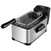 3.2 Quart Electric Deep Fryer 1700W Stainless Steel Bake w/Timer & Frying Basket