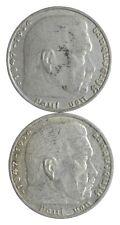 1939 1937 GERMAN WW2 NAZI 2 Mark Swastika Silver Coin - Germany War *444