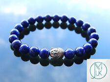 Buddha Lapis Lazuli Natural Gemstone Bracelet 7-8'' Elasticated Healing Stone