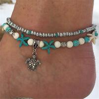 Boho Starfish Turquoise Beads Sea Turtle Anklet Beach Sandal Ankle Bracelet Gift