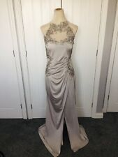 LIPSY ASOS Sequin Embroidered Silver Fishtail Maxi Dress Sz 16 Evening Prom Quiz