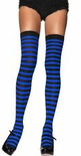Leg Avenue - Opaque Striped Thigh Highs Black and Blue