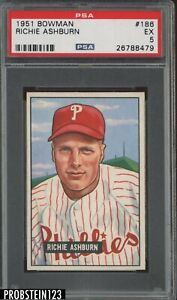 1951 Bowman SETBREAK #186 Richie Ashburn Phillies HOF PSA 5 EX