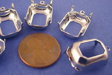Silver Tone Octagon Prong Settings 18x13 1 Ring Open Backs - 12 Pieces