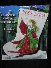 Renaissance Angel Christmas Stocking Cross Stitch Kit Design Works Snow Flakes