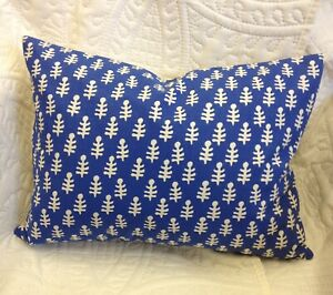 "Molly Mahon Bagru Fabric Cushion - Blue  -  Lumbar -   16"" x 12"""