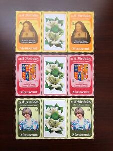 Montserrat 1982 Scott #484-486 Gutter Pairs Princess Diana 21st Birthday Mint NH