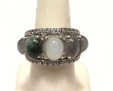 Unusual & Bold Polished Multi-Stone Cabochon & Diamond Cocktail Ring - Sz. 7