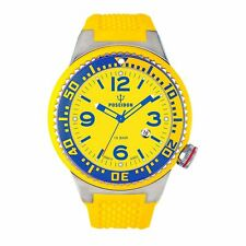 POSEIDON BY KIENZLE,UP00267,CASSA XL 52 mm,SLIM,OROLOGIO UOMO,SCUBA,GIALLO BLU